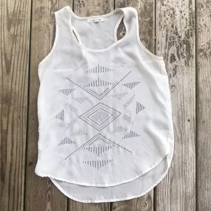 White sheer top with Aztec beading